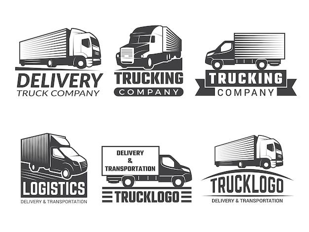 Logo transportu. sylwetka ciężarówki różnych emblematów logistycznych. logo firmy izolować