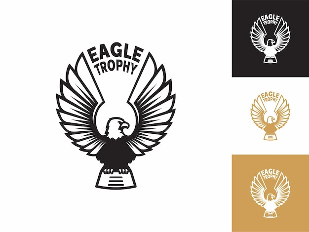 Logo trofeum orła, projekt godła edytowalny dla motocykla motocyklowego odzieży biznesowej