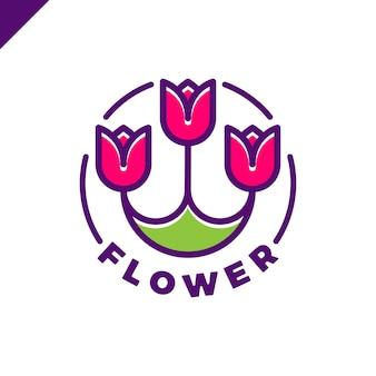 Logo trzech kwiatów w stylu linii w kółku. ikona tulip spa. cosmetics hotel garden salon piękności koncepcja logotypu.
