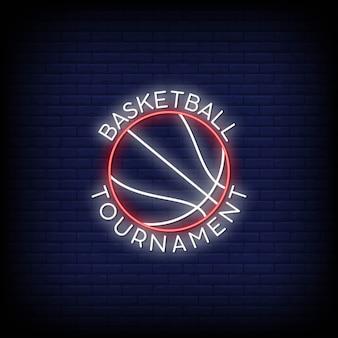 Logo turnieju piłki do koszykówki w neonowych znakach