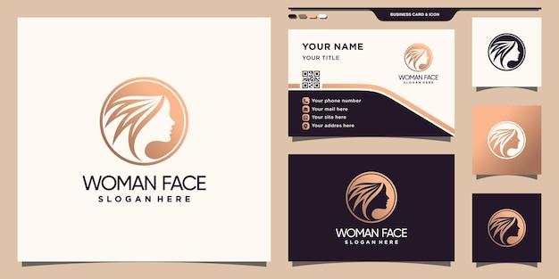Logo twarzy kobiety z koncepcją negatywnej przestrzeni koła i projektem wizytówki premium wektorów