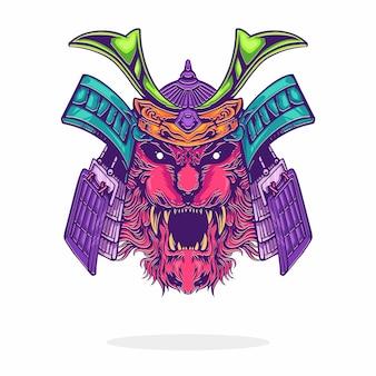 Logo twarzy samuraja głowy zwierząt na białym tle