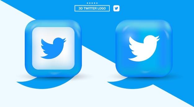 Logo twittera z zaokrąglonymi rogami dzięki nowoczesnemu logo mediów społecznościowych