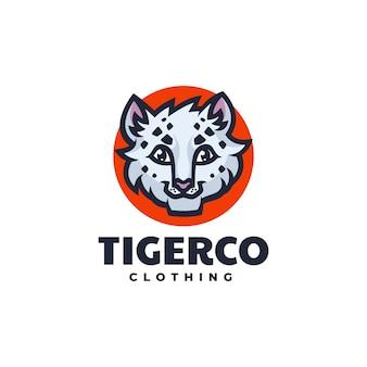 Logo tygrys prosty styl maskotki