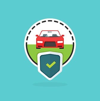Logo ubezpieczenia samochodu na niebieskim tle