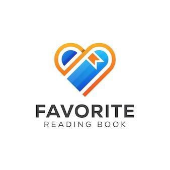 Logo ulubionej książki do czytania. książka miłosna, nauka, nauka, projektowanie logo biblioteki