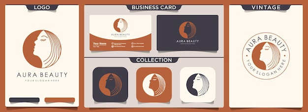 Logo uroda kobiety z zestawem szablonu vintage i wizytówki