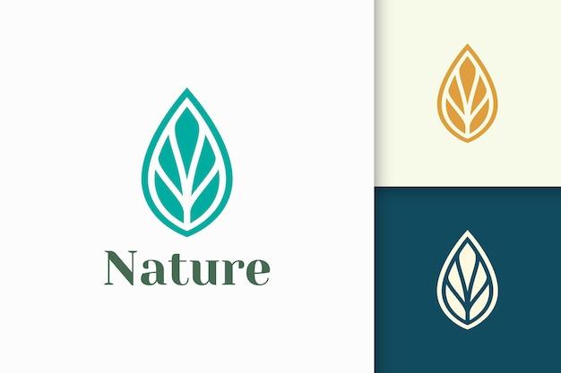Logo urody lub zdrowia w abstrakcyjnym i minimalistycznym kształcie liścia