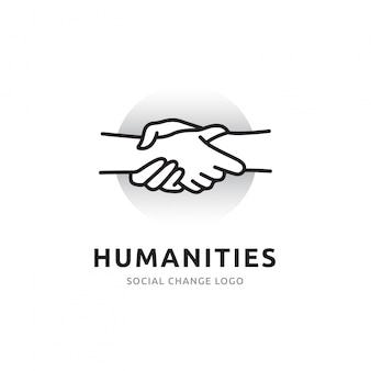 Logo uścisku dłoni ogólnej dostępności ludzi i interakcji ze społeczeństwem za pośrednictwem sieci. ikona linie symbolizują połączenia ze światem i innymi ludźmi