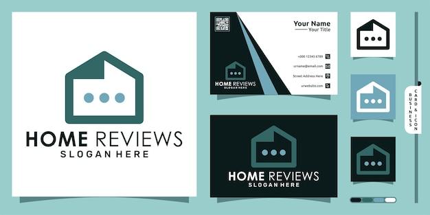 Logo usług domowych z recenzjami nowoczesna koncepcja i projekt wizytówki wektor premium
