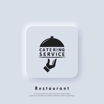 Logo usługi cateringowej. ikona usług gastronomicznych. wektor. biały przycisk sieciowy interfejsu użytkownika neumorphic ui ux. neumorfizm
