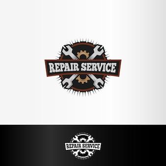 Logo usługi naprawy na białym tle, elementy kluczy i kół zębatych, ilustracja narzędzia mechaniczne.