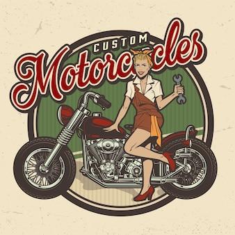 Logo usługi naprawy rocznika kolorowy motocykl