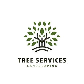 Logo usługi ogrodnictwa i ogrodnictwa kosiarki do drzew z minimalistyczną grafiką ikony drzewa w stylu linii