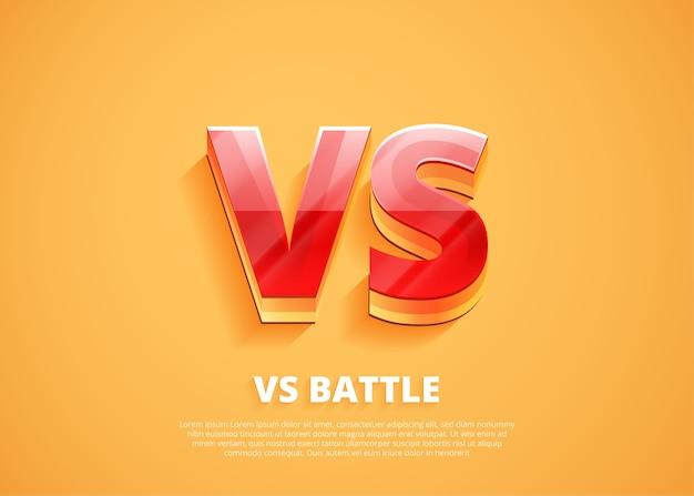 Logo versus vs litery do zawodów sportowych i walki.