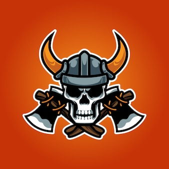 Logo viking skull head e sport