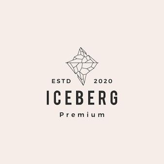 Logo vintage hipster lodowej berg