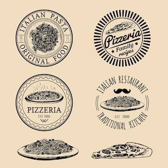 Logo vintage hipster włoskiej żywności. nowoczesne znaki lub herby makaronów i pizzy. ręcznie rysowane ilustracje kuchni śródziemnomorskiej. styl szkicu atramentowego