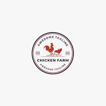 Logo vintage ilustracji farmy kurczaka.