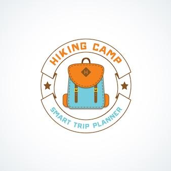 Logo vintage na kempingach i przygodach na świeżym powietrzu