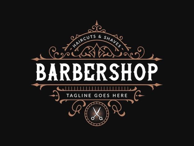 Logo vintage napis dla zakładów fryzjerskich z ozdobną ramką