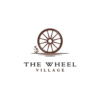 Logo vintage old wooden cart wheel