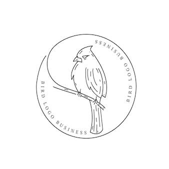 Logo Vintage Retro Ptak Zwierząt Premium Wektorów
