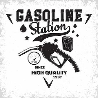 Logo vintage stacji benzynowej, emblemat stacji benzynowej, emblemat typographyv stacji benzynowej lub oleju napędowego, drukowanie znaczków z łatwym do usunięcia folwarkiem,