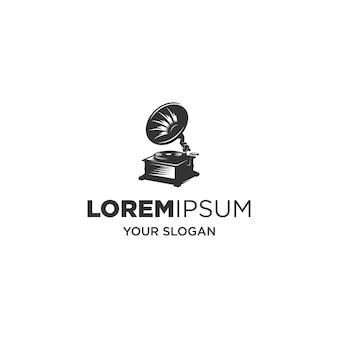 Logo Vintage Sylwetka Odtwarzacza Muzyki Premium Wektorów