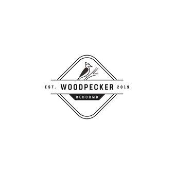 Logo vintage woodpecker redcomb