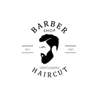 Logo vvintage barbershop. hipster man.