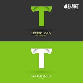 Logo w kształcie listu ekologicznego t list zielony origami