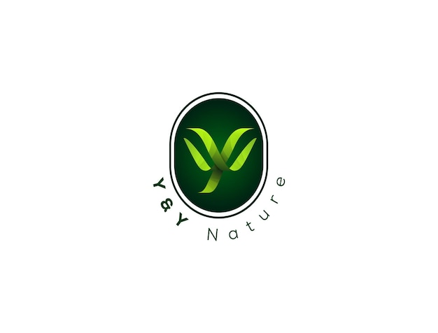 Logo w kształcie litery y z naturalnym stylem