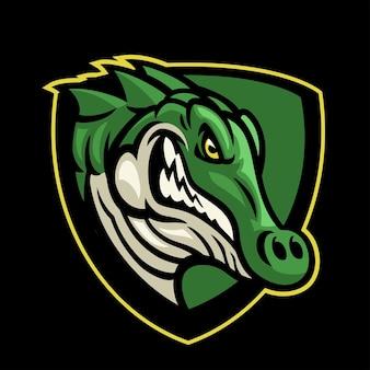 Logo w stylu sportowym głowy krokodyla;