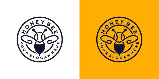 Logo w stylu vintage z miodem chrząszczem