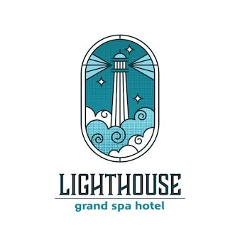Logo w stylu witrażu latarni morskiej