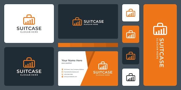Logo walizki i logo wykresu inwestycyjnego lub finansowego. projekt wizytówki