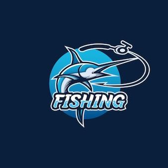 Logo wędkarskie, haczyk na ryby