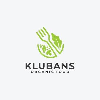 Logo wegańskie jedzenie liść natura koncepcja liniowy