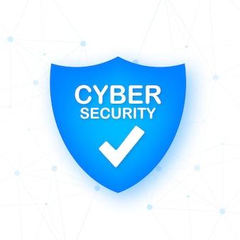 Logo wektor bezpieczeństwa cybernetycznego z tarczą i znacznikiem wyboru koncepcja tarczy bezpieczeństwa bezpieczeństwo w internecie