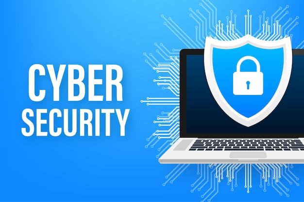 Logo wektor bezpieczeństwa cybernetycznego z tarczą i znacznikiem wyboru. koncepcja tarczy bezpieczeństwa. ochrona internetu. ilustracja wektorowa.