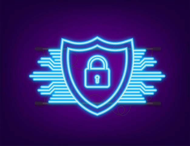 Logo wektor bezpieczeństwa cybernetycznego z tarczą i znacznikiem wyboru. koncepcja tarczy bezpieczeństwa. ochrona internetu. neonowa ikona. ilustracja wektorowa.