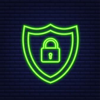 Logo wektor bezpieczeństwa cybernetycznego z tarczą i znacznikiem wyboru. koncepcja tarczy bezpieczeństwa. ochrona internetu. neonowy styl. ilustracja wektorowa.