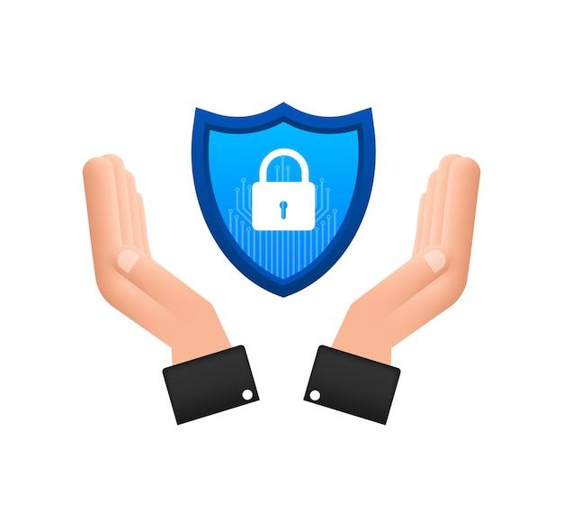 Logo wektor bezpieczeństwa cybernetycznego z tarczą i znacznikiem wyboru ręce trzymające znak bezpieczeństwa cybernetycznego