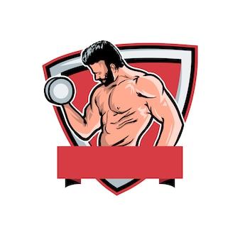 Logo wektor fitness maskotka siłowni