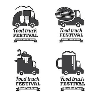 Logo wektor food truck, herby i odznaki. etykieta godło, restauracja i kawiarnia ilustracja samochodu