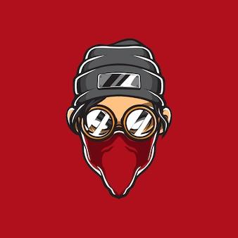 Logo wektor głowy gangstera