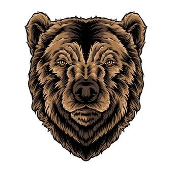 Logo wektor głowy niedźwiedzia