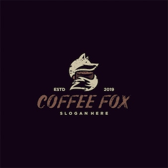 Logo wektor kawa lis prosty