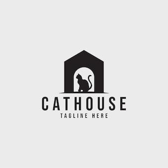 Logo wektor logo domu kota dla sklepu zoologicznego